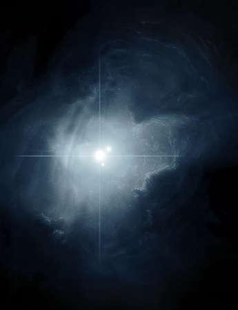 bright space: Dark Blue Nebula Stock Photo