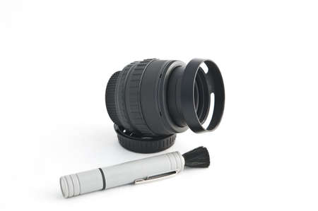 Phtographic Lens with Cleaning Tool Stock Photo