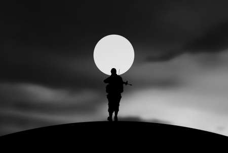 iraq war: Conceptual Illustration of War  lonely soldier with full Moon
