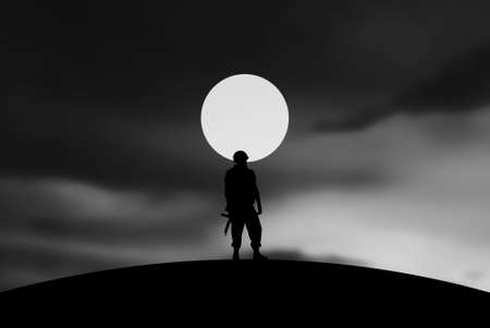 Conceptual Illustration of War  lonely soldier with full Moon