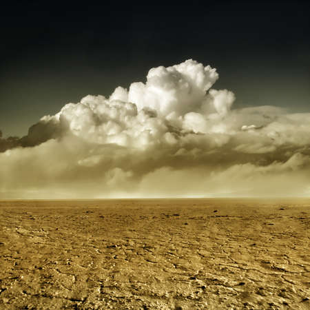 Desert with Cumulus Clouds Stock Photo