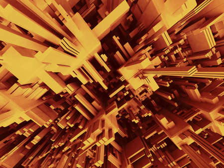 3D Abstract Modern Orange Structure photo