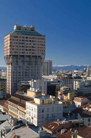 Velasca Tower in Milan with Skyline