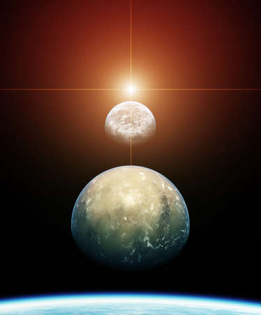 Alignement planète avec Soleil levant Banque d'images