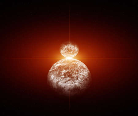 Two Planets with Red Dwarf Star photo