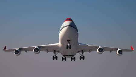 plane landing: Large Jumbo Jet is landing