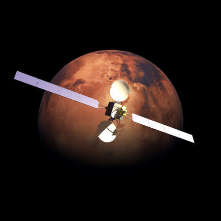 probe: Artificial Probe orbiting above Red Planet Mars