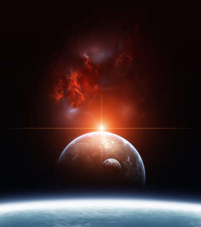 Earth with Planets and Red Nebula on background photo