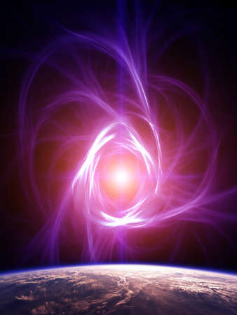 lightyear: Violet Nebula in the outer space Stock Photo