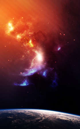 astrophotography: Planet Earth with Colorful Nebula on background