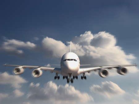 boeing 747: Grande Jumbo Jet sta atterrando Archivio Fotografico