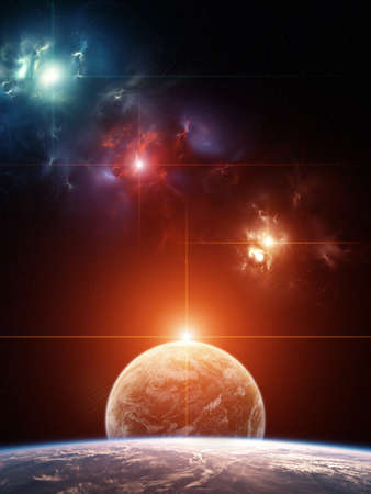 Planet System with colorful nebula on background