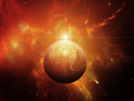 Planet with nebula and Red dwarf Star Stock Photo