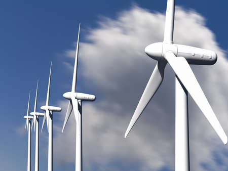 Wind turbines with sky and clouds on background Stock Photo