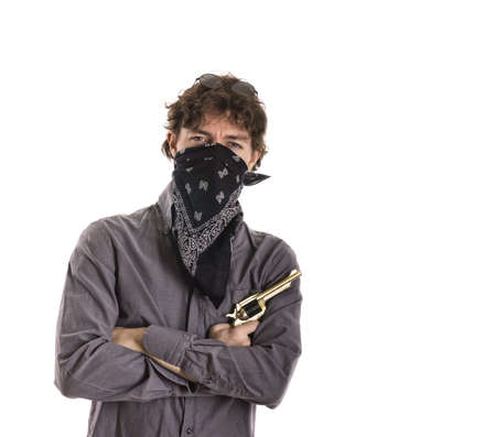 Criminal Portrait with Gun and Mask Stock Photo