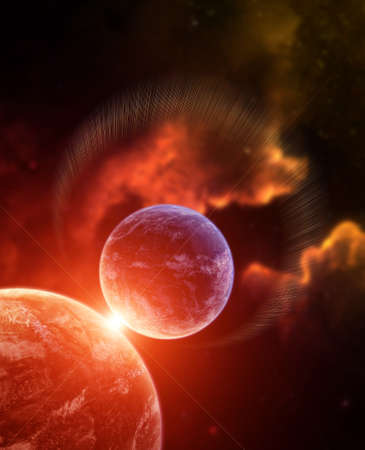 interplanetary: Planet with Rising Star and nebula on background Stock Photo