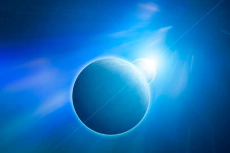 Planet Earth with Moon and rising Sun on Blue Nebula