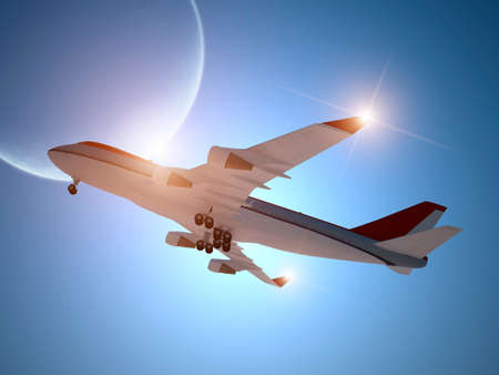Airplane Taking off with Moon in the Sky Stock Photo
