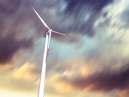 Wind Turbine with moving clouds on background Stock Photo