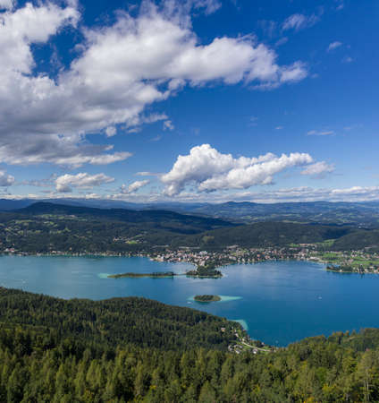 Panoramic View of Lake Worthersee (Carinthia, Austria) Stock Photo