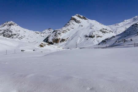 View of Mountains near Bernina Stock Photo