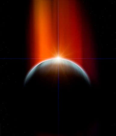 Planet with nebula and Rising Star