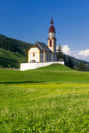 Obernberg am Brenner with austrian alps on background Stock Photo