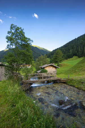 Austrian landscape with alps on background (Obenberg am brenner, South Tyrol)