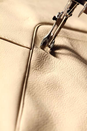 expertize: sewing machine in action on leather Stock Photo