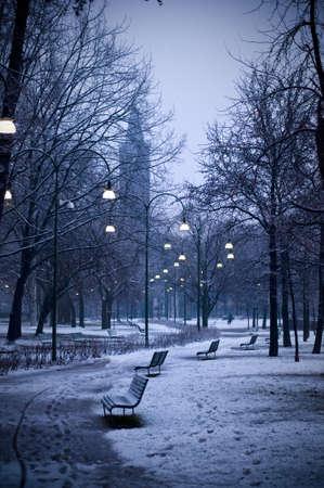 Snowy park photo