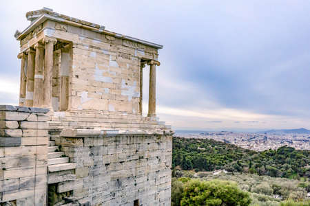 Sight of the Athena Nike Temple looking down to Athens