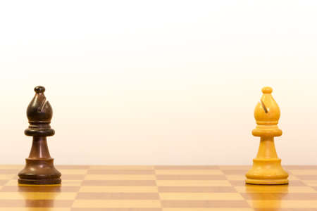 concept of competition in work with pawns of chess photo