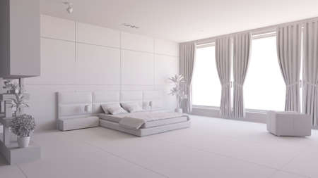 Render of a bedroom with some furniture photo