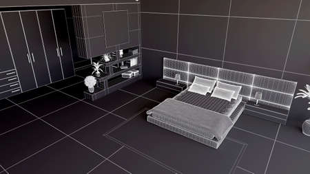 bedchamber: 3D render of a bedroom in wireframe