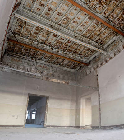 madhouse: Interiors of an abandoned house in the downtown Stock Photo