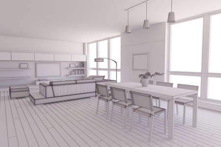 Interior render of a dining room without materials photo