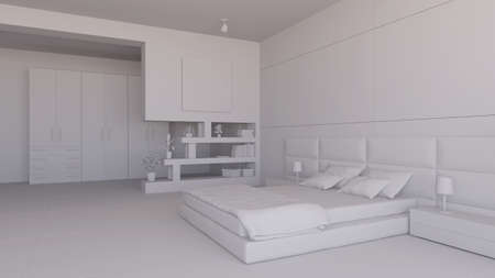 bedchamber: Render interior of a bedroom with some furinitures