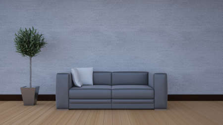 Front view of an interior rendering of a living room with textures photo