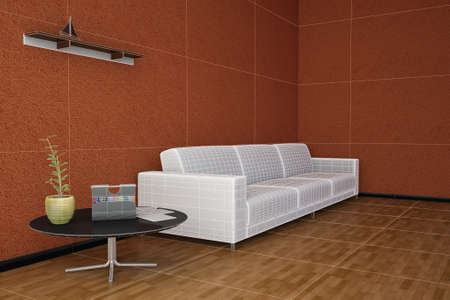 Side view of an interior rendering of a living room with textures and wireframe photo