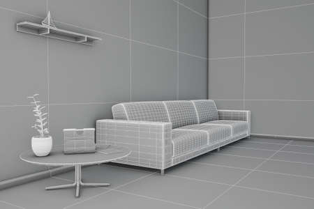 Side view of an interior rendering of a living room in wireframe photo