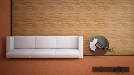 view window: Top view of an interior rendering of a living room with textures Stock Photo