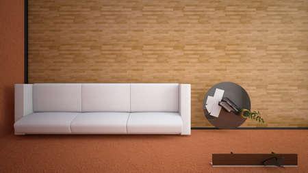 file d attente: Vue de dessus d'un rendu int�rieur d'un salon avec des textures
