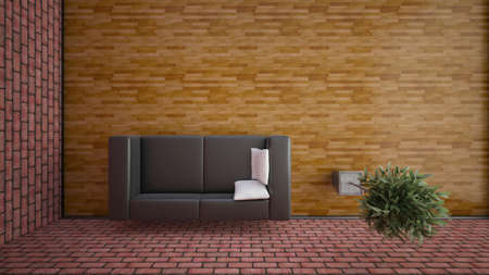 Top view of an interior rendering of a living room with textures photo
