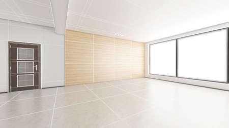 bedchamber: Interior rendering of an empty room with textures Stock Photo
