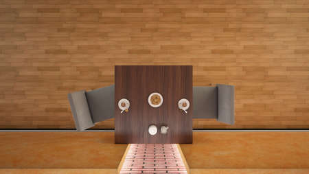 bar one: Interior rendering of a bar with one table and two seats