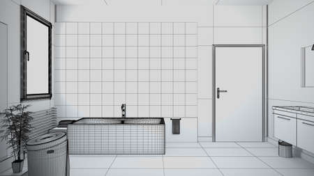 3d rendering interior of a bathroom with furnitures photo