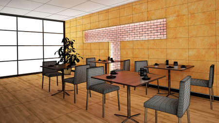 bar interior: Interior rendering of a bar with textures Stock Photo