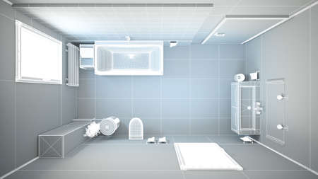 3D interior rendering of a bathroom with furnitures photo