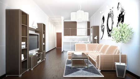 loft: 3D interior rendering of a small loft with textures Stock Photo