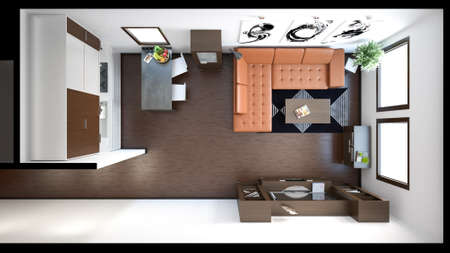 loft interior: 3D interior rendering of a small loft with textures Stock Photo